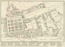 A reduced copy of Fisher's ground plan of the Royal Palace of Whitehall, taken in the Reign of Charles 2d, 1680